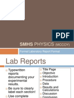 Formal Lab Report Format