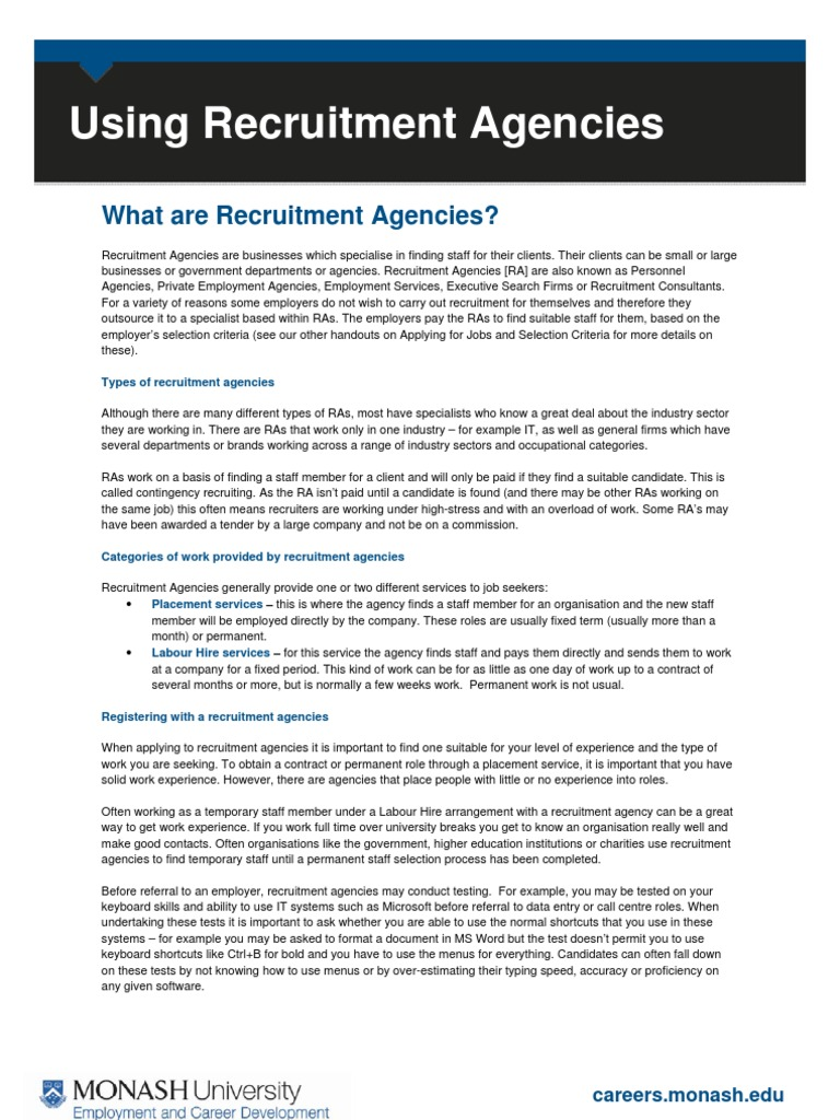 Recruitment and recruitment agencies are one and the same 20