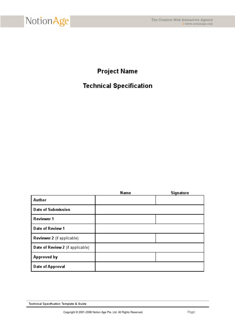 Technical Project Documentation | Specification (Technical Standard ...