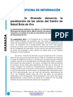 El PP de Granada denuncia la paralización de las obras del Centro de Salud Bola de Oro