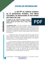 La portavoz del PP en materia sanitaria en el parlamento Andaluz, Ana María Corredera, ha denunciado el mal estado del Chare de Loja