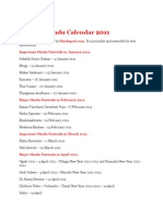 Hindu Calendar 2011