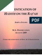 Authentication of Hadith on the Raj'ah (Keywords