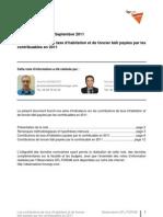 Les contributions de taxe d'habitation et de foncier bâti payées par les contribuables en 2011 -  Septembre 2011 - Forum pour la gestion des villes