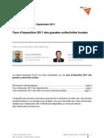 Taux d'imposition 2011 des grandes collectivités locales - Forum pour la gestion des villes