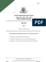 SPM Percubaan 2008 MRSM Physics Paper 1