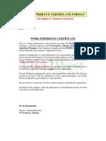 Sample Experience Certificate Format for School Teacher