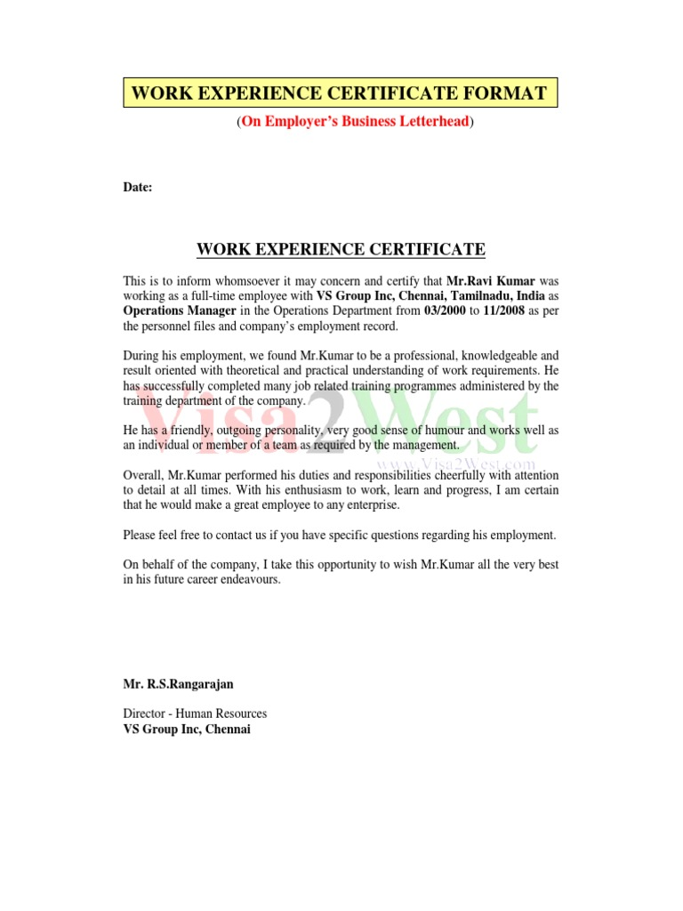 Work Experience Certificate Employment Labour