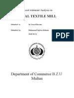 Analysis on Fazal Textile
