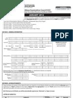CXC Application Form Private National CSEC JAN