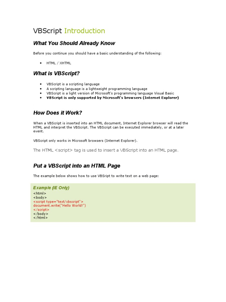 VBScript Introduction From w3 School | Html | Control Flow