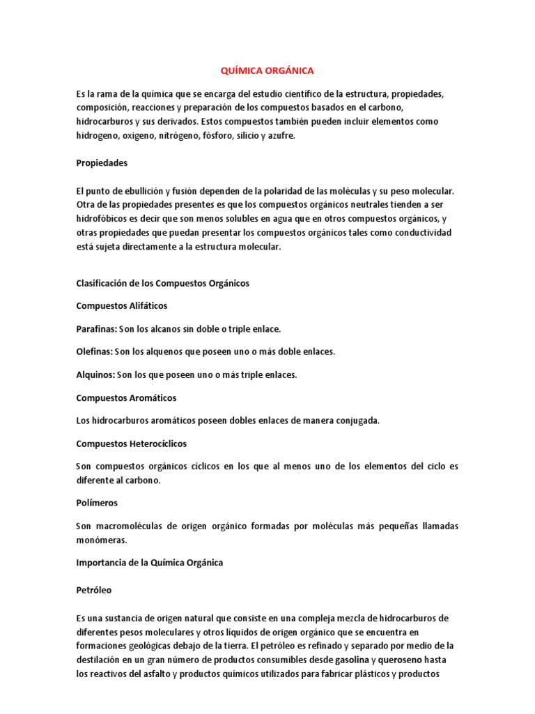 Resumen qu mica org nica for Resumen del libro quimica en la cocina
