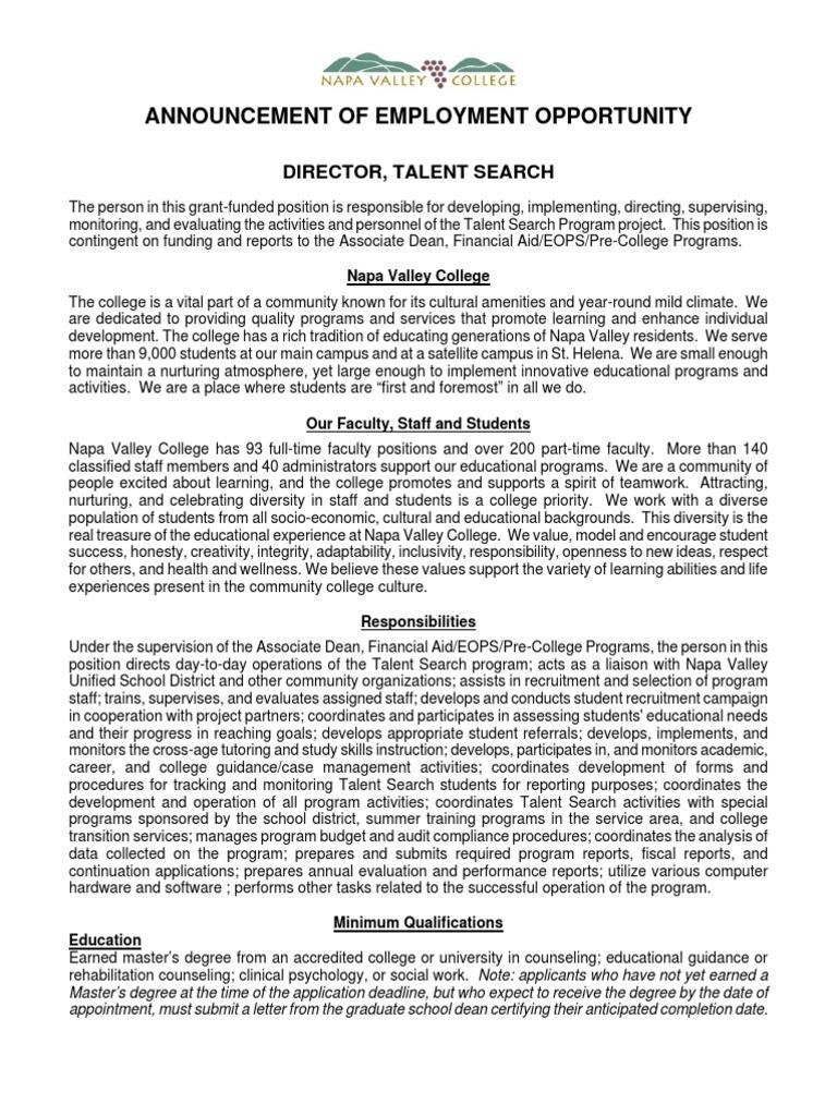 Director Talent Search Announcement 2011 | Rehabilitation