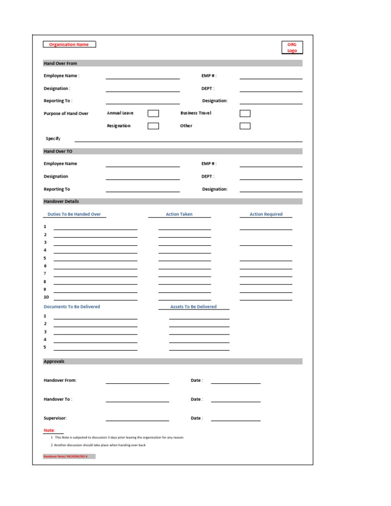Handover Note Form – Holiday Leave Form Template