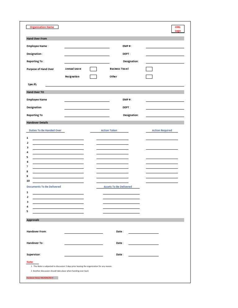 handover note form