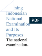 Defining Indonesian National Examination and Its Purposes