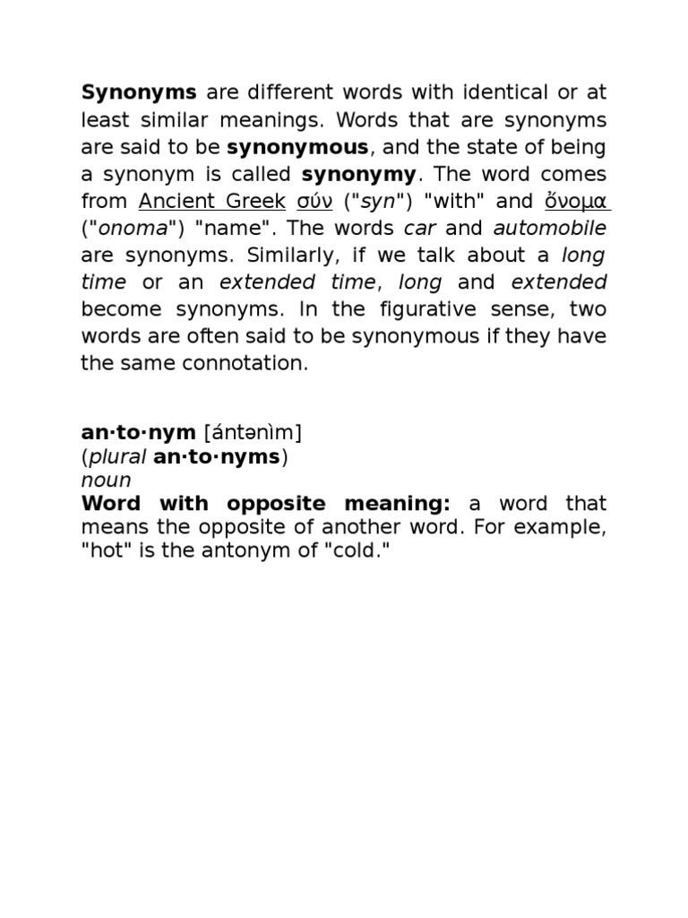 Synonyms And Antonyms Definition