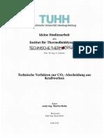 Studienarbeit Martin Holm 05.2011. Technische Verfahren Zur CO2-Abscheidung Aus Kraftwerken