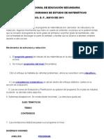 AJUSTES AL PROGRAMA DE MATEMÀTICAS SECUNDARIA.