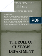 The Role of Customs Department