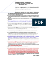 PhD 2011 Instructions for Filling the Application Form 9 July 2011