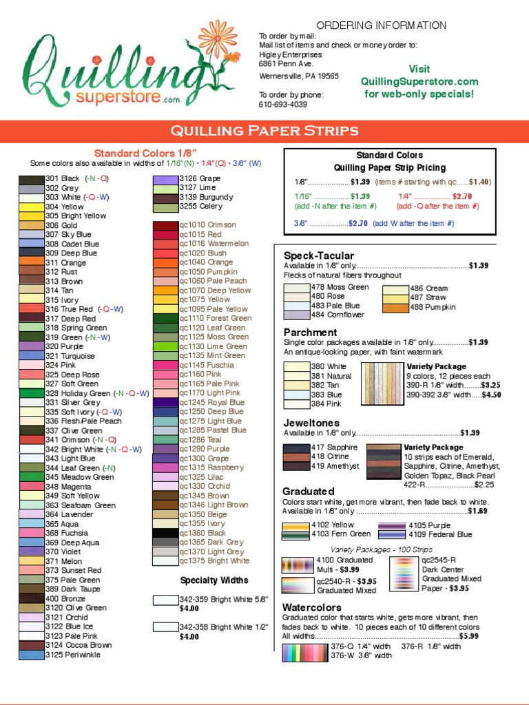 100 Per Package Quilled Creations QC2540 Graduated Quilling Paper 1//8-Inch Mixed Color