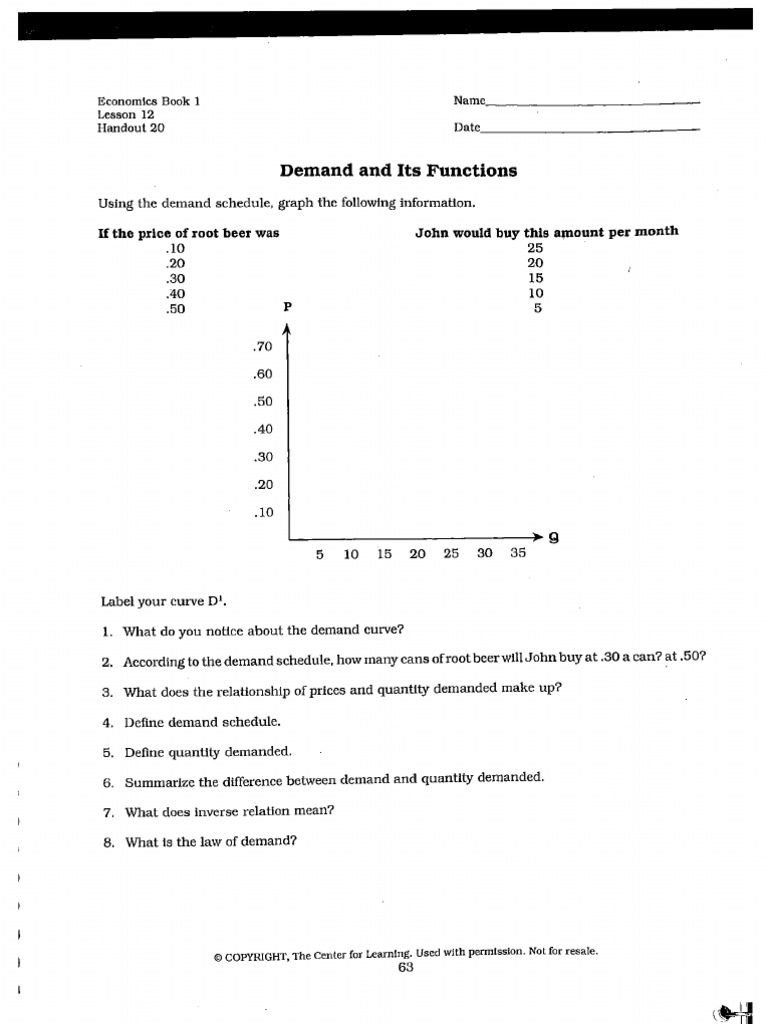 Worksheets Demand Curve Worksheet supply and demand worksheets