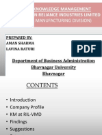 Status of Knowledge Management a Case Study on Reliance Industries Limited