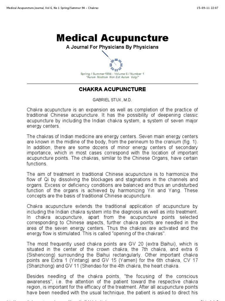 Summer 94 - Chakras   Chakra   Acupuncture