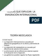TEORIAS QUE EXPLICAN  LA EMIGRACIÓN INTERNACIONAL