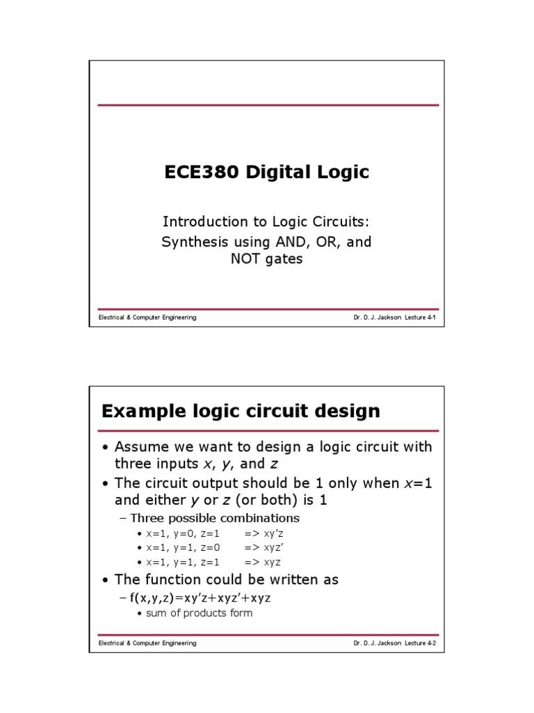 Min Max Term Logic Gate Electronic Circuits Circuit Example