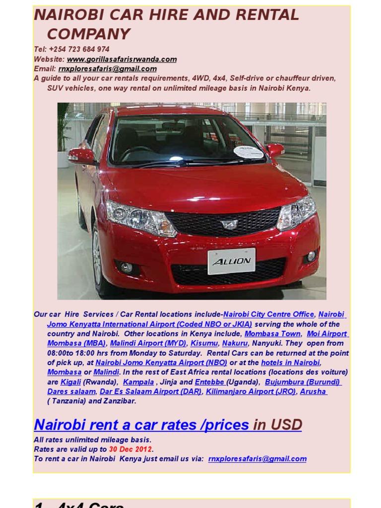 Nairobi Kenya Car Hire Rental 4x4 4wd Self Drive Nairobi Kenya