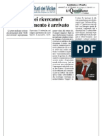 Quotidiano Del Molise 09.9.2011 Noote Dei Ricercatori All'Unimol