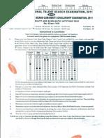 NTSE 2011 Bihar First Stage MAT Paper