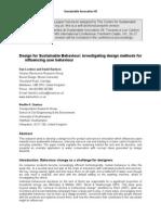 Design for Sustainable Behaviour- Investigating Design Methods for Influencing User Behaviour