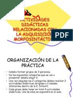 ACTIVIDADES DIDÁCTICAS RELACIONADAS CON LA ADQUISICIÓN MORFOSINTÁCTICA