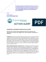JFNA Action Alert on Charitable Contribution Deduction