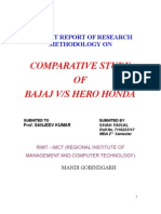 summer training report on bajaj v/s hero honda