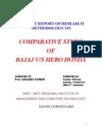 summer training report on bajaj v/s hero honda