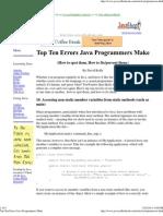 Top Ten Errors Java Programmers Make