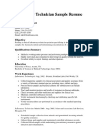 laboratory technician sample resume - Lab Tech Resume