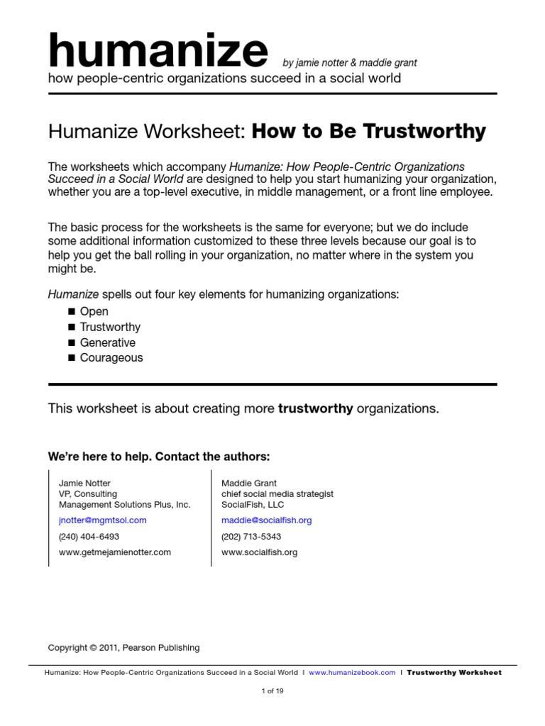 Worksheets Trustworthiness Worksheets humanize worksheet trustworthy brainstorming trust emotion