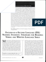 English-As-A-Second Language (ESL) Nursing Students.. Strategies for Building Verbal and Written Language Skills