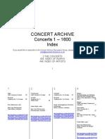 Concert Archive. Catalogue. 1600