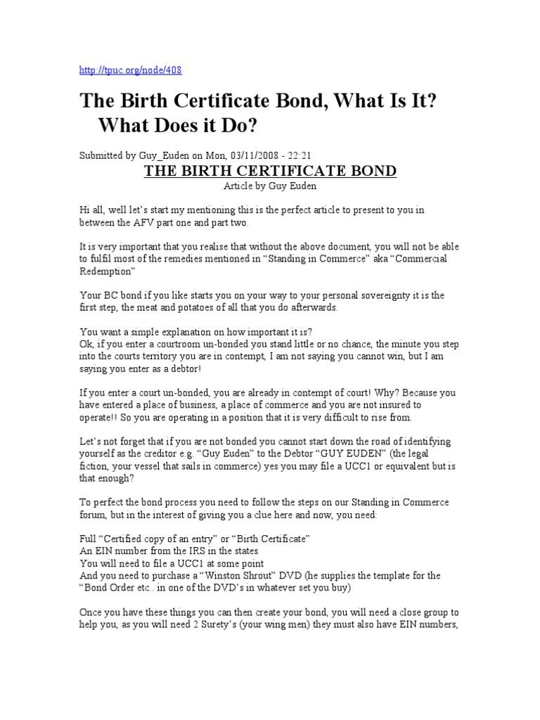 Birth Certificate Bond | Surety Bond | Indemnity
