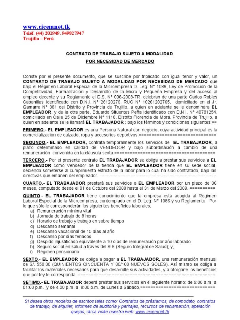 Modelo de contrato de trabajo para a Contrato trabajo