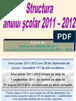 Structura an Scolar Si Calendar 2011 2012