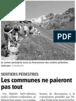 Sentiers pédestres - les communes ne paieront pas tout