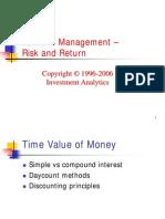 Investment Theory > Portfolio Management - Risk and Return