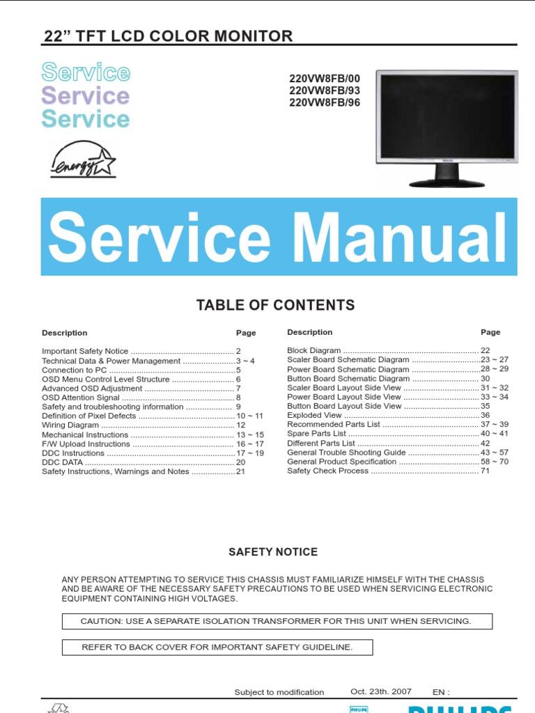 1524147460?v=1 philips lcd monitor 220vw8fb service manual pixel computer monitor